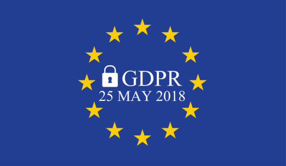 General Data Protection Regulation (GDPR) on european union flag with date